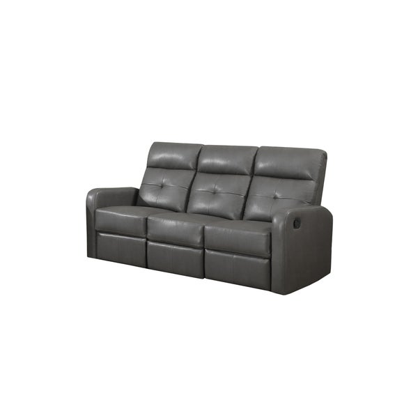 shop charcoal grey bonded leather reclining sofa free shipping today 10898013. Black Bedroom Furniture Sets. Home Design Ideas