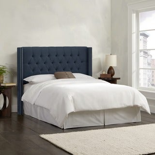 Skyline Furniture Linen Navy Diamond Tufted Wingback Headboard