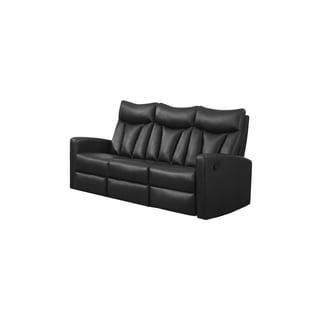 Black Bonded Leather Reclining Sofa