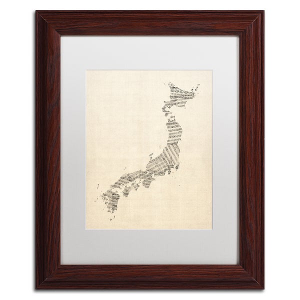 michael tompsett old sheet music map of japan white matte wood framed canvas wall art free shipping today overstockcom 17931882 - Wood Frames For Canvas