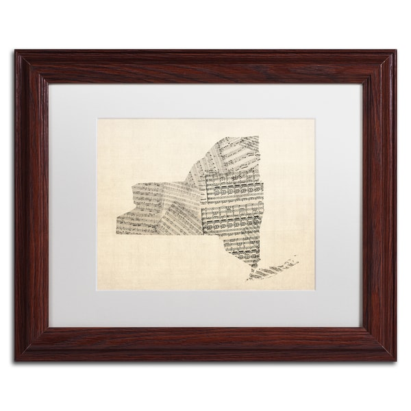 Michael Tompsett 'Old Sheet Music Map of New York' White Matte, Wood Framed Canvas Wall Art