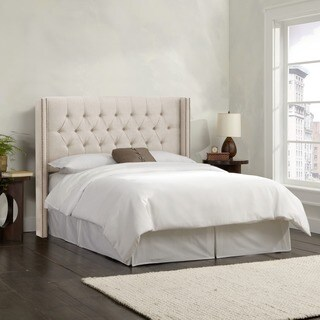 Skyline Furniture Linen Talc Diamond Tufted Wingback Headboard