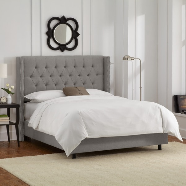 cc30a4590206 Shop Skyline Furniture Linen Grey Diamond Tufted Wingback Nail Bed ...