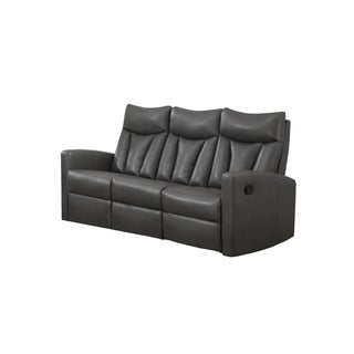 Grey Bonded Leather Reclining Sofa Charcoal