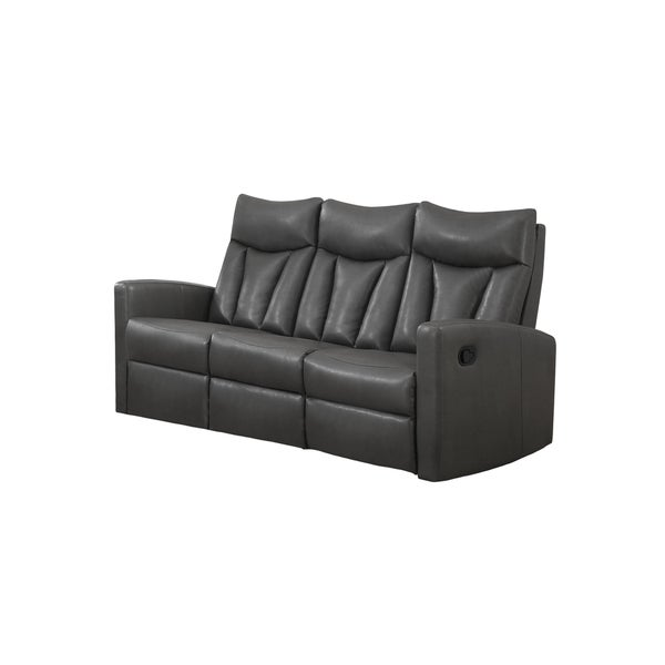 shop grey bonded leather reclining sofa charcoal free shipping today overstock 10898038. Black Bedroom Furniture Sets. Home Design Ideas
