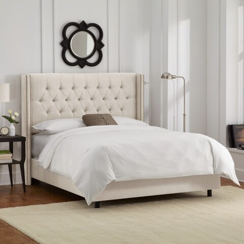 Skyline Furniture Talc Linen Diamond Tufted Nail Button Wingback Bed