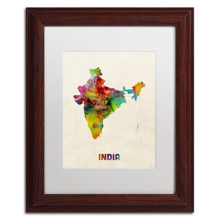 Michael Tompsett 'India Watercolor Map' White Matte, Wood Framed Canvas Wall Art