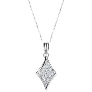 SummerRose 14k White Gold Kite Pendant 3/8 TDW Diamonds (H-I, SI1-SI2)