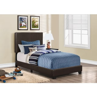 Dark Brown Twin Size Leather-look Fabric Bed