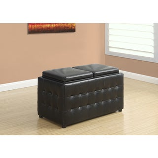 Dark Brown Leather-Look Ottoman with Storage Trays, 32 Inches Long