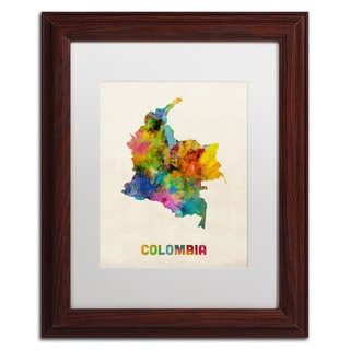 Michael Tompsett 'Colombia Watercolor Map' White Matte, Wood Framed Canvas Wall Art