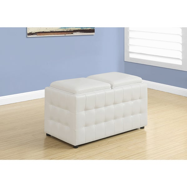 White Leather Look Ottoman With Storage Trays, 32 Inches Long