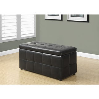 Dark Brown Leather-Look Ottoman with Hinged Top, 38 Inches Long