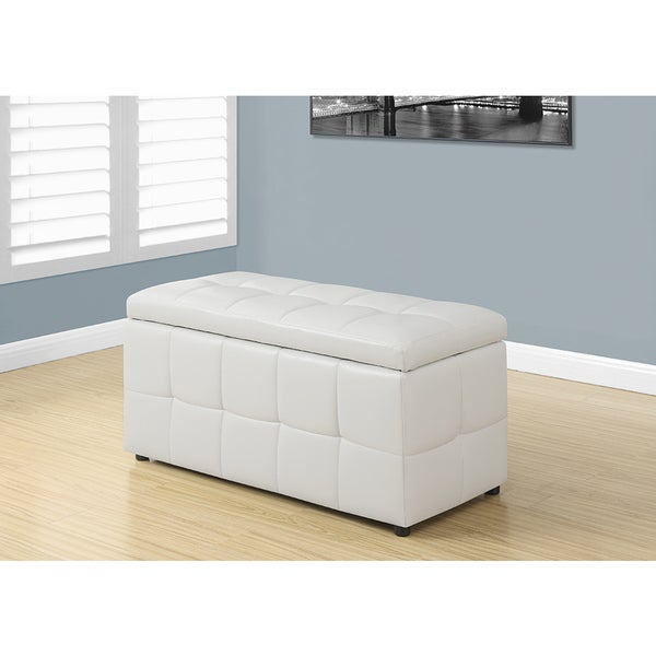 White Leather Look Ottoman With Hinged Top 38 Inches Long