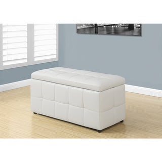 White Leather-Look Ottoman with Hinged Top, 38 Inches Long