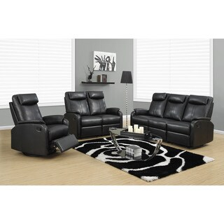 Black Bonded Leather Reclining Loveseat