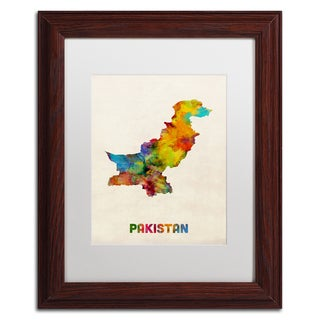 Michael Tompsett 'Pakistan Watercolor Map' White Matte, Wood Framed Canvas Wall Art