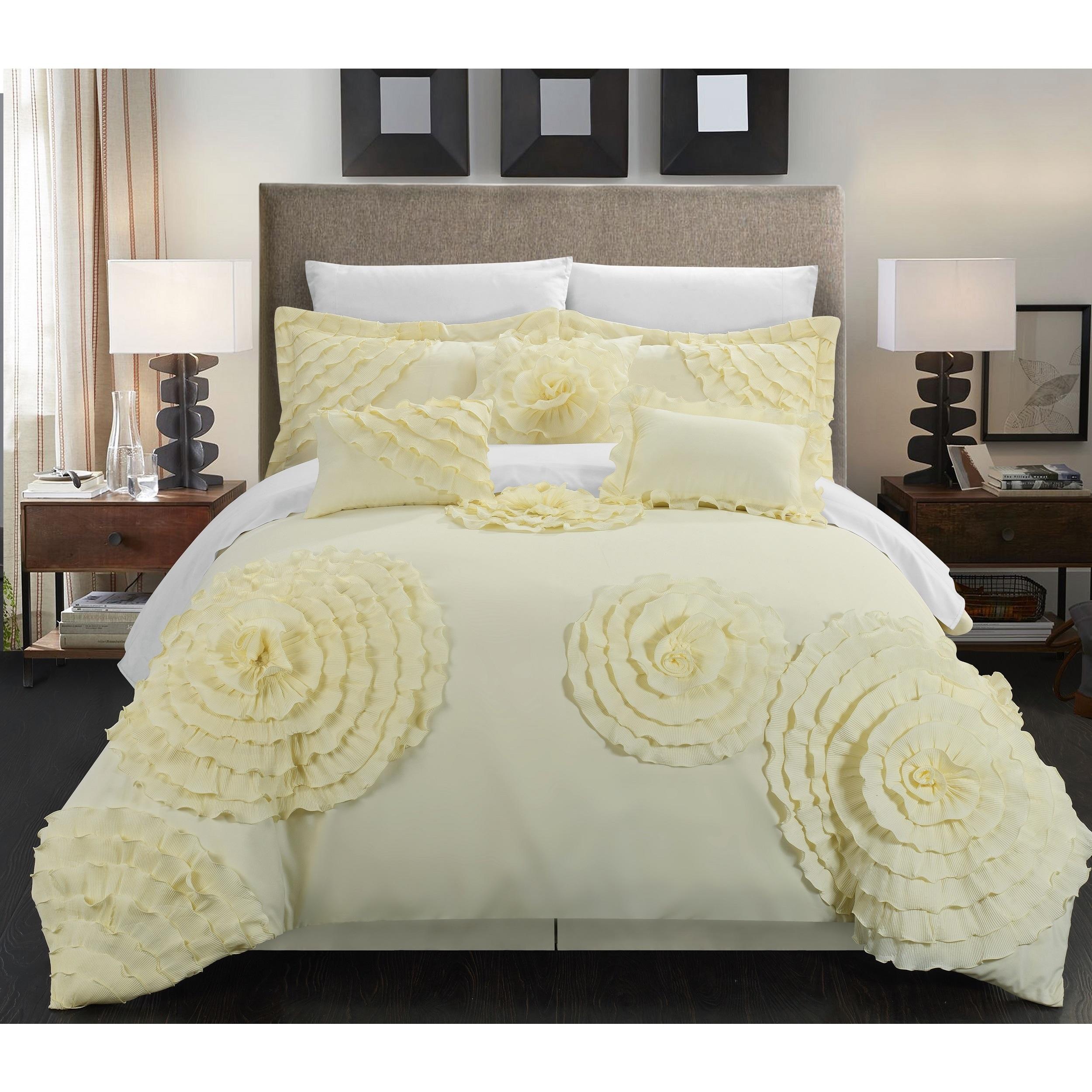Chic Home 11-piece Buxton Beige Oversized Comforter Set (...