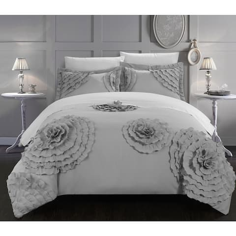 The Curated Nomad Hildy 7-Piece Silver Floral and Rose Applique Duvet Cover Set