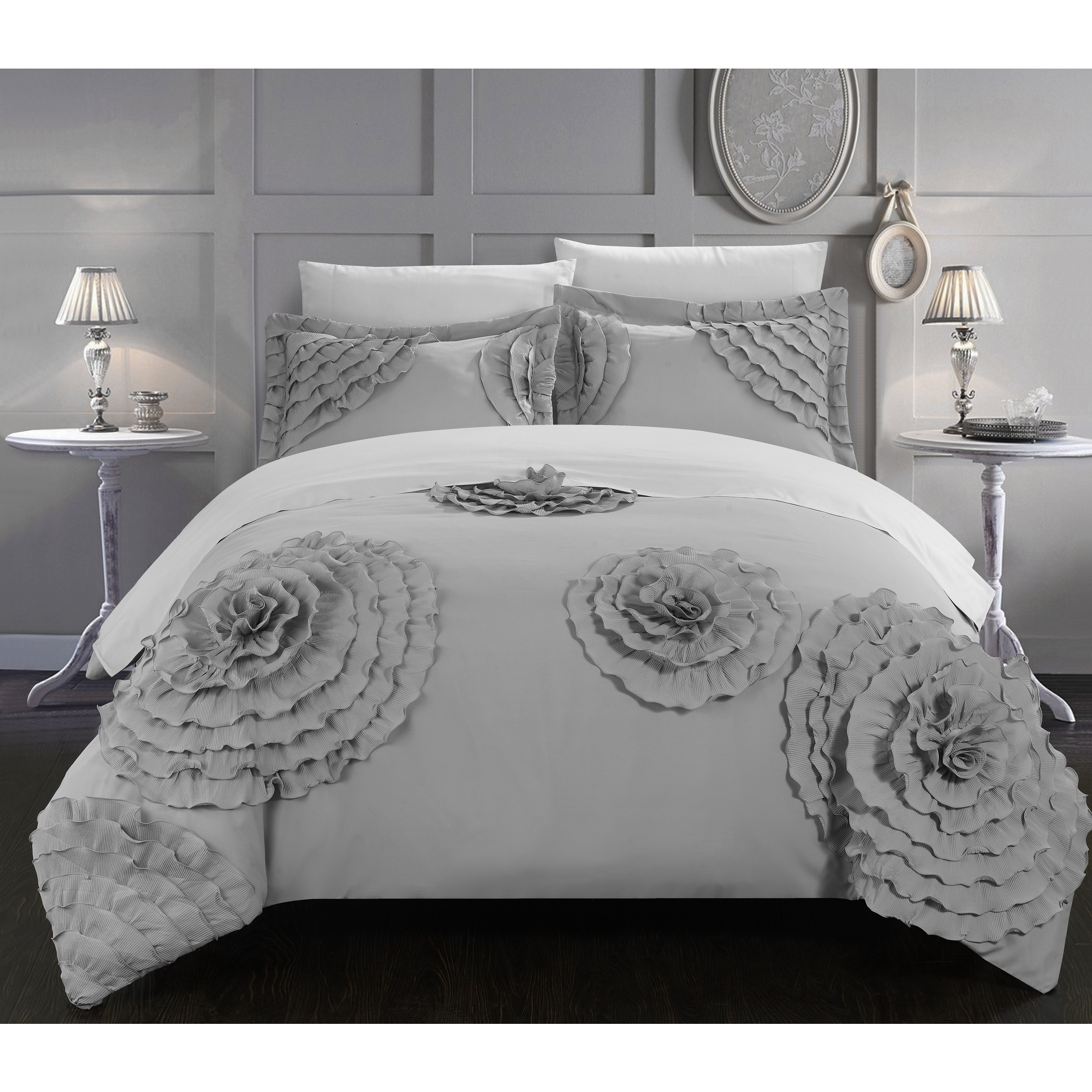 Chic Home 7-Piece Marissa Silver Floral and Rose Applique Duvet Cover Set