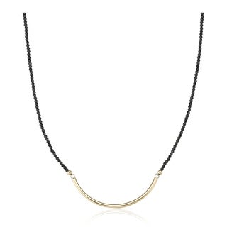 PearlAura Vanguard 14k Yellow Gold Black Spinel Gemstone with Large Crescent Necklace