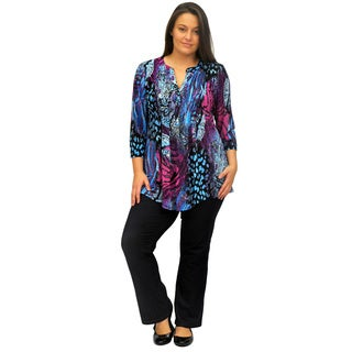 La Cera Women's Plus Size Pleated Front Abstract Print Tunic