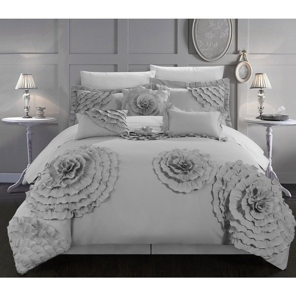 Chic Home 7-piece Buxton Silver Oversized Comforter Set