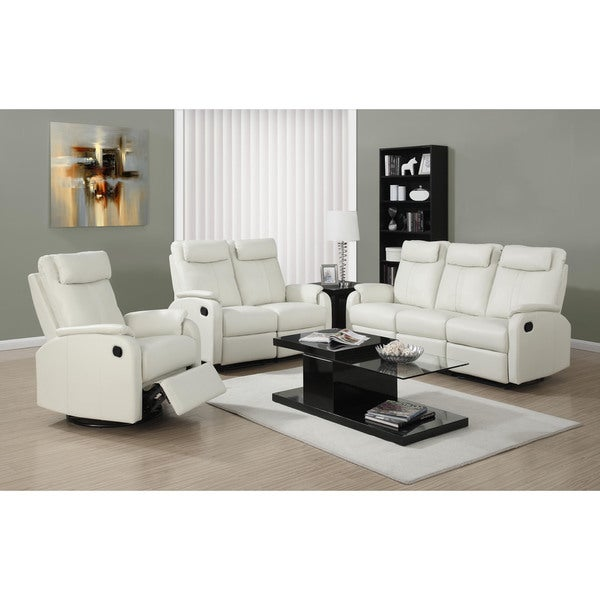 Shop Reclining Loveseat Ivory Bonded Leather Free