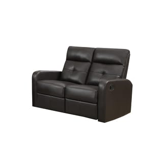Brown Bonded Leather Reclining Loveseat