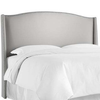 Skyline Furniture Shantung Silver Nail Button Wingback Headboard