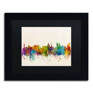 Michael Tompsett 'Victoria Canada Skyline' Black Matte, Black Framed Canvas Wall Art