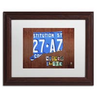 Design Turnpike 'Connecticut License Plate' White Matte, Wood Framed Canvas Wall Art