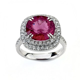 Neda Behnam DFAC 18k White Gold Tourmaline and 7/8ct TDW Cushion-cut Diamond Ring (G-H, SI1-SI2)