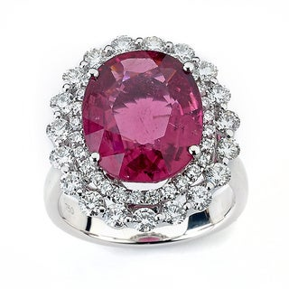 Neda Behnam DFAC 18k White Gold Pink Tourmaline 1 1/2ct TDW Diamond Cocktail Ring (G-H, SI1-SI2)