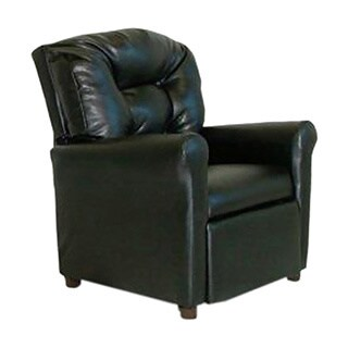 Dozydotes 4 Button Kids Child Recliner Chair - Black Leather Like