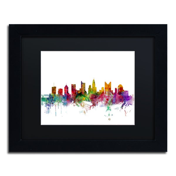 Michael Tompsett 'Columbus Ohio Skyline' Black Matte, Black Framed Canvas Wall Art