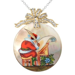 Micheal Valitutti Silver Painted Santa Christmas Shell Pendant