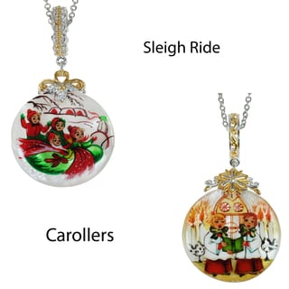 Micheal Valitutti Silver Painted Christmas Shell Pendant/Charm