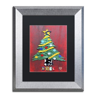 Design Turnpike 'Noel Christmas Tree' Black Matte, Silver Framed Canvas Wall Art