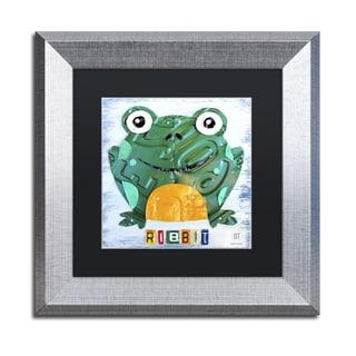 Design Turnpike 'Ribbit the Frog' Black Matte, Silver Framed Canvas Wall Art