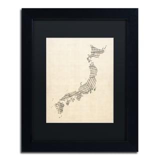 Michael Tompsett 'Old Sheet Music Map of Japan' Black Matte, Black Framed Canvas Wall Art