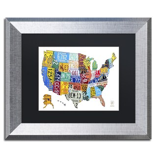 Design Turnpike 'License Plate Map USA 2' Black Matte, Silver Framed Canvas Wall Art