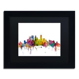 Michael Tompsett 'Minneapolis Minnesota Skyline' Black Matte, Black Framed Canvas Wall Art