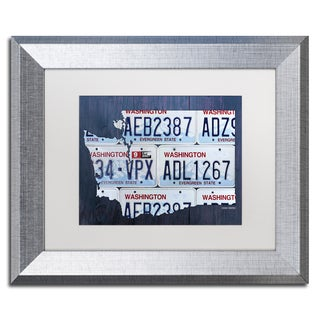 Design Turnpike 'Washington License Plate Map' White Matte, Silver Framed Canvas Wall Art