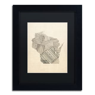 Michael Tompsett 'Old Sheet Music Map of Wisconsin' Black Matte, Black Framed Canvas Wall Art