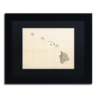 Michael Tompsett 'Old Sheet Music Map of Hawaii' Black Matte, Black Framed Canvas Wall Art