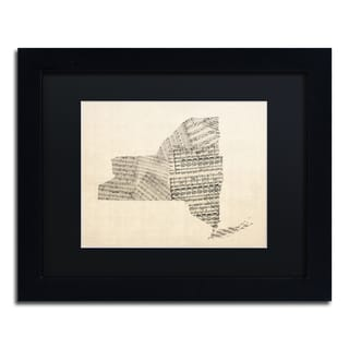 Michael Tompsett 'Old Sheet Music Map of New York' Black Matte, Black Framed Canvas Wall Art