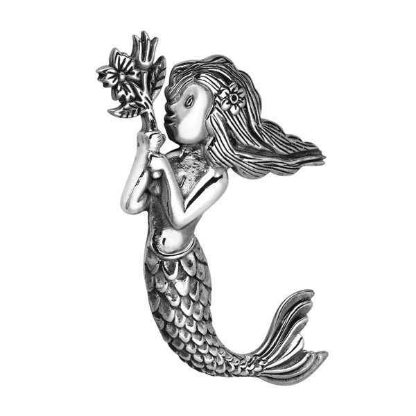 Handmade Rare Mermaid Holding Flower Sterling Silver Slide Pendant (Thailand)