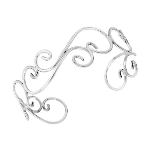 Handmade Elegant Swirls of Sterling Silver Cuff Bracelet (Thailand)