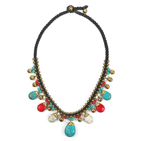 Handmade Earthy Multicolor Stone Brass Macrame Jingle Bell Necklace (Thailand)